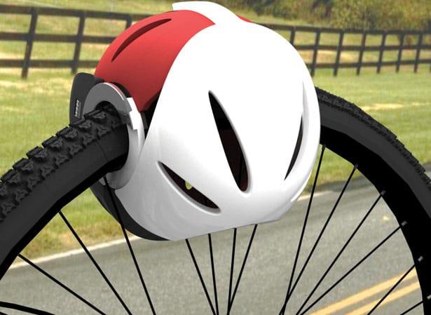 Велошлем как блокиратор колеса