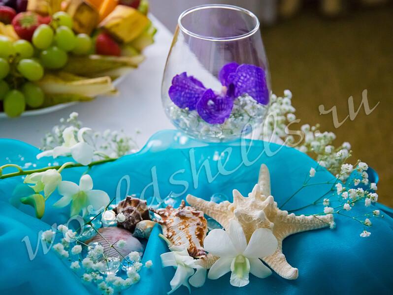 Морские звезды и ракушки - незаменимые декоративные элементы морской свадьбы