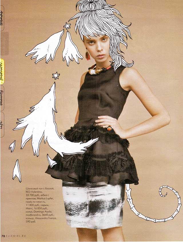Стильное колье от Domingo Ayala в мартовском нмоере Elle Girl