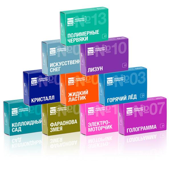 В новогодний комплект входят 10 наборов Эксперимент в коробочке