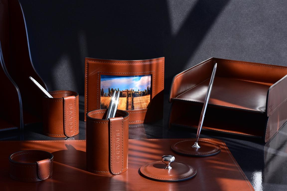 настольный набор для руководителя коричневый из дорогой кожи бювардо