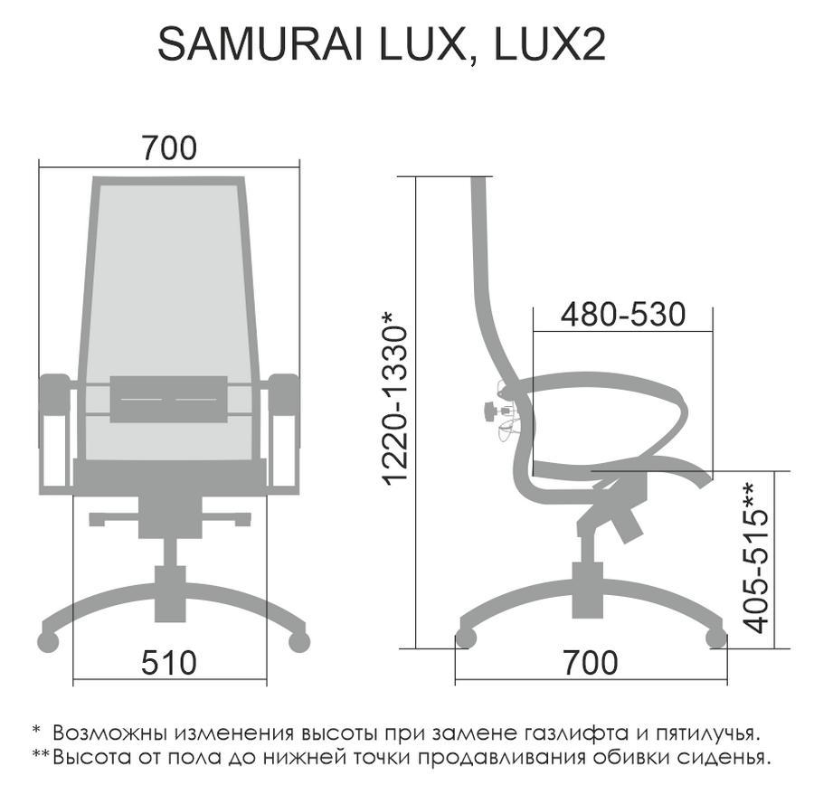 Размеры кресла МЕТТА SAMURAI Lux 21