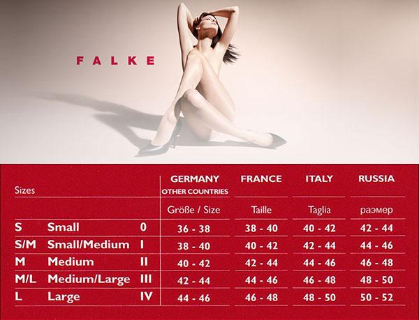 Таблица размеров колготок Falke