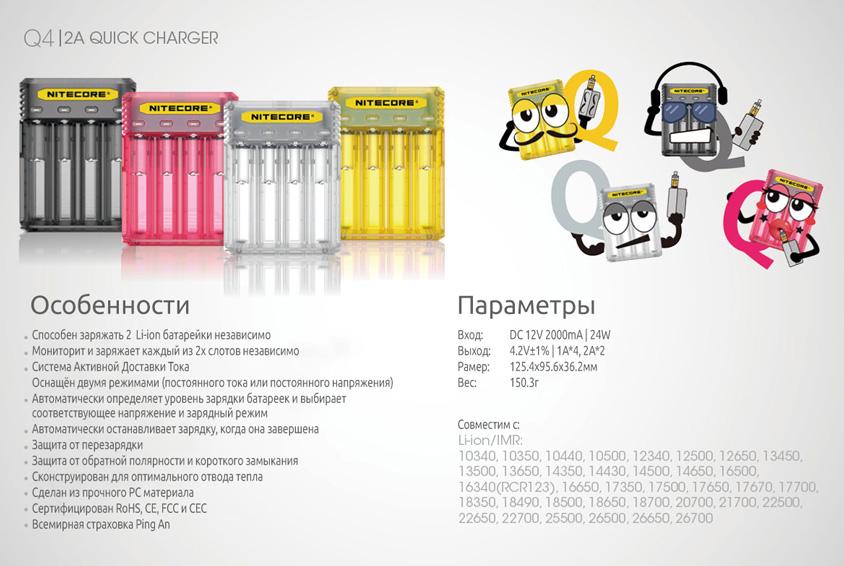 Зарядное устройство Nitecore Q4