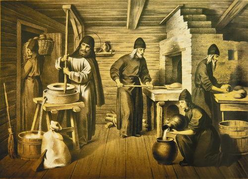 Монахи пекут хлеб