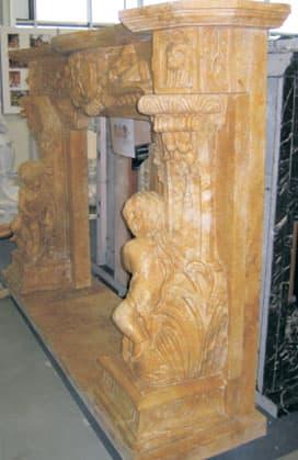 Портал для камина из мрамора резной