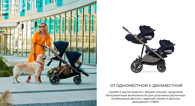 ОТ ОДНОМЕСТНОГО К ДВУХМЕСТНОМУ Gazelle S растет вместе с Вашей семьей, предлагая безграничные возможности для установки различных комбинаций детских сидений, люлек и детских автокресел CYBEX.