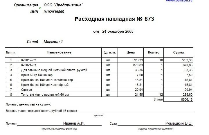 Пример расходной накладной, на основе которой вносятся данные в форму М-17