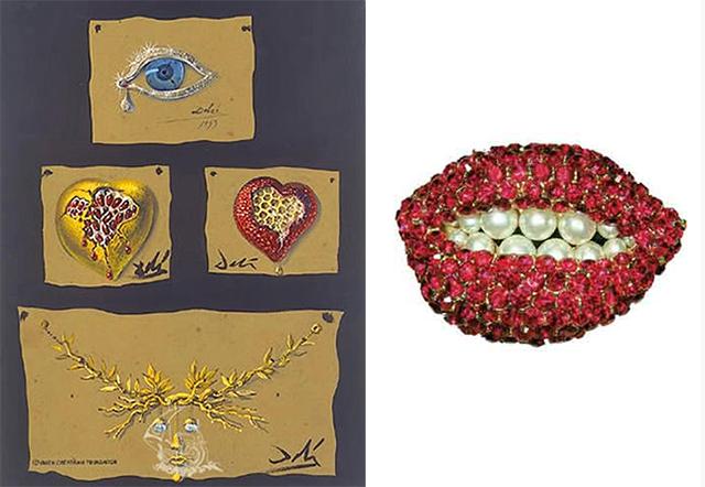 эскизы и брошь, созданная по эскизам Сальвадора Дали