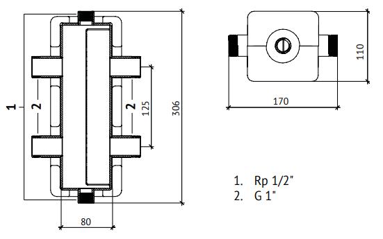Габариты вертикальной гидрострелки Uni-Fitt 439Z2640