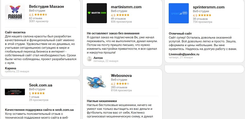 Пользовательские отзывы о разработчиках сайтов