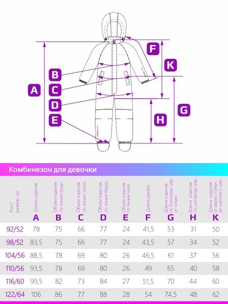 Размерная сетка демисезонного комбинезона для девочки