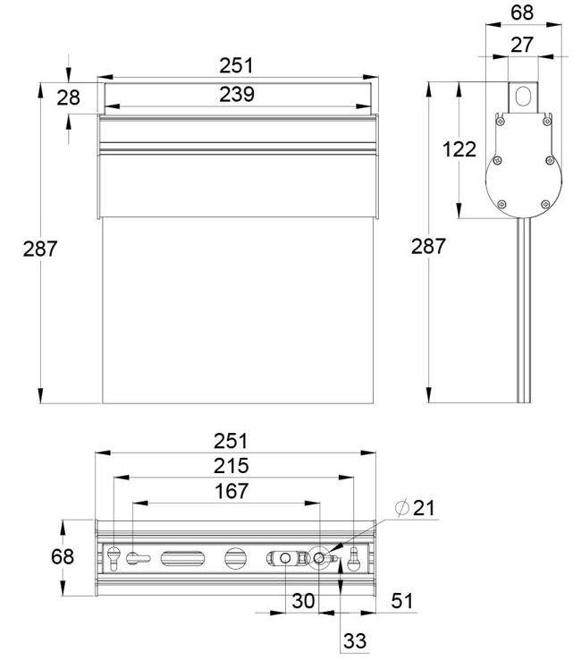 Монтажные размеры потолочного крепления указателя аварийного освещения ESC-10
