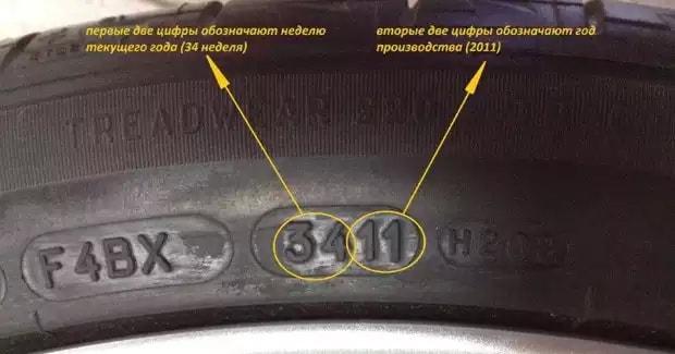 Цифры на покрышке обозначающие ее дату изготовления