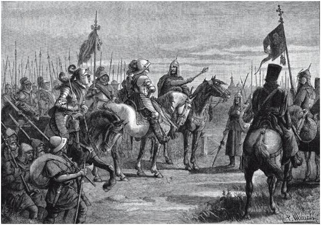 Скопин-Шуйский встречает шведского фельдмаршала Делагарди близ Новгорода
