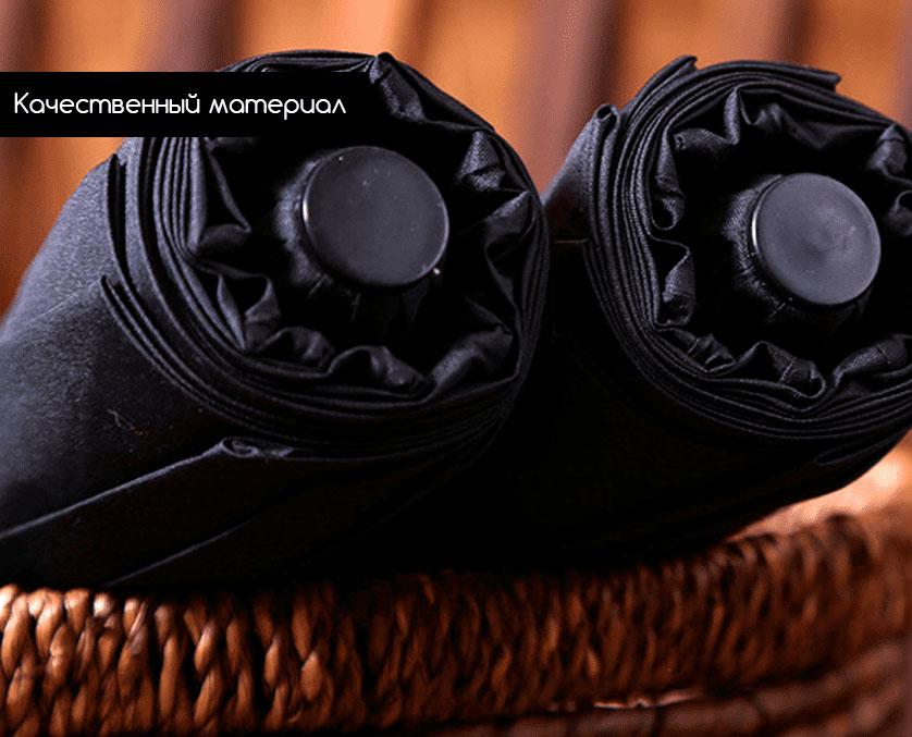 Складной зонт черный с кожаной ручкой | zc moretti design black