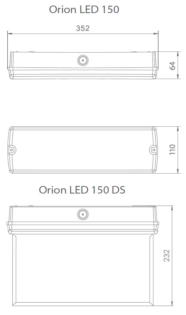 Размеры светодиодного накладного светильника аварийного освещения Orion LED 150 7W IP65