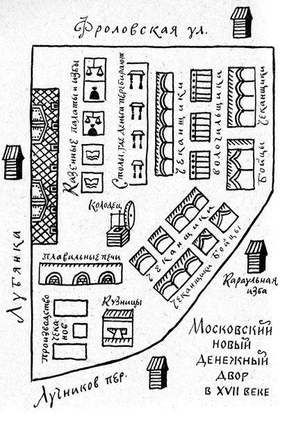 Схема монетного двора XVII века