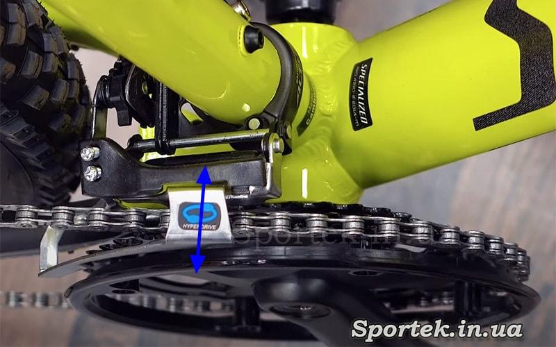 Работа переднего переключателя скоростей на велосипеде