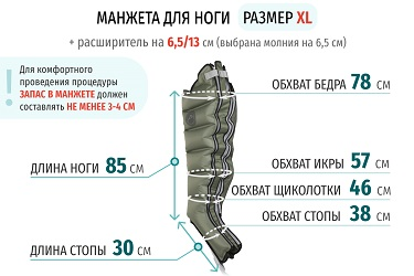 Размеры манжеты ноги XL с расширителем 13 см (молния на 6,5 см)