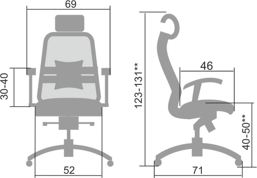 Размеры кресла Samurai S-3.041