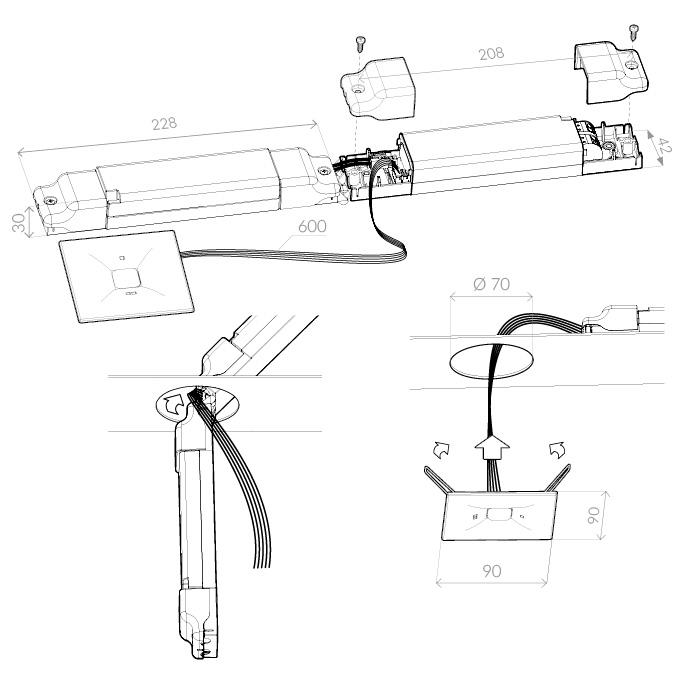 Монтаж аварийного светильника антипанического освещения открытых пространств ONTEC D