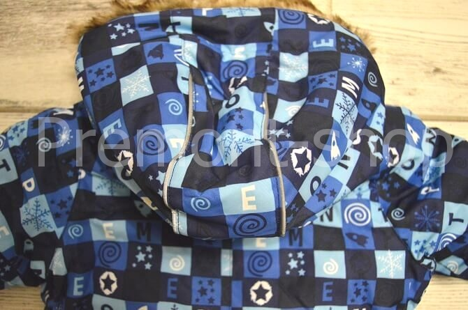 Капюшон комбинезона Premont Голубые льдинки (вид сзади)