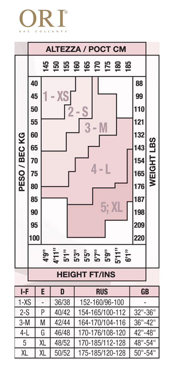 Таблица размеров колготок Ori