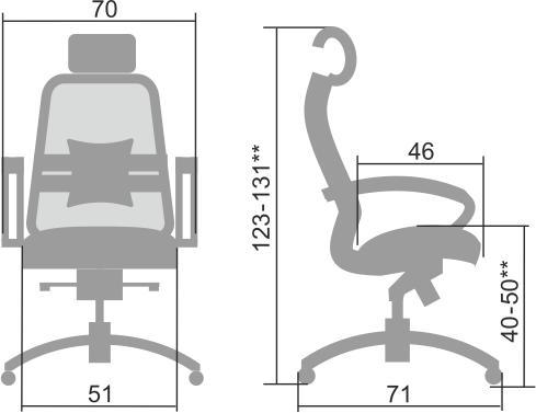 Размеры кресла Samurai SL-2.04