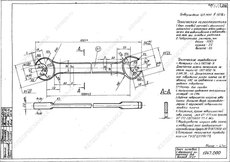 ТУ 32 ЦП 587-78 чертёж 1947.000 Ключ путевой с удлиненной рукояткой для болтов М27