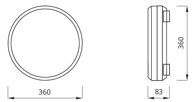 Размер автономного светильника аварийного освещения IP54 Twister
