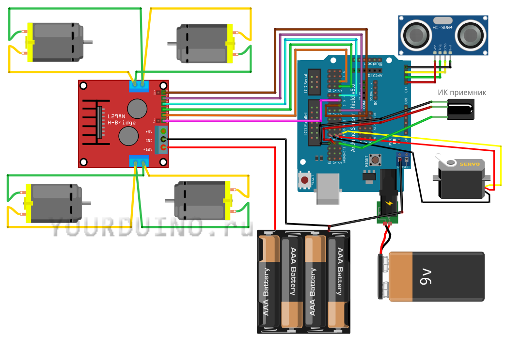 Схема сборки колесного робота