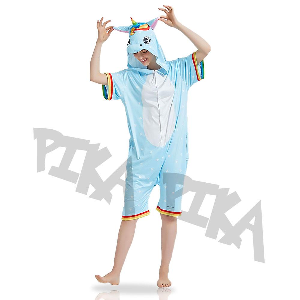 Летний Кигуруми Радужный Голубой Единорог