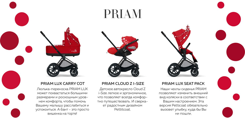 PRIAM LUX CARRY COT Люлька-переноска PRIAM LUX может похвастаться большими размерами и роскошным уровнем комфорта, чтобы помочь Вашему малышу расслабиться и успокоиться. А бант - это просто вишенка на торте! PRIAM CLOUD Z I-SIZE Детское автокресло Cloud Z i-Size легкое и эргономичное, что позволяет всегда комфортно путешествовать. И сверкает радостным дизайном Pettitcoat. PRIAM LUX SEAT PACK Наши чехлы сиденья PRIAM позволяют изменить внешний вид коляски в соответствии с Вашим настроением. Эта версия Petticoat обязательно вызовет улыбку, куда бы Вы ни пошли.