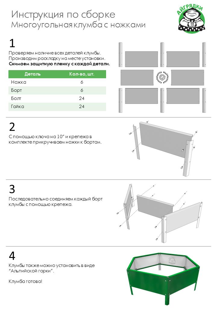 Инструкция по сборке многоугольных оцинкованных клумб с ножками АЙГРЯДКИ!