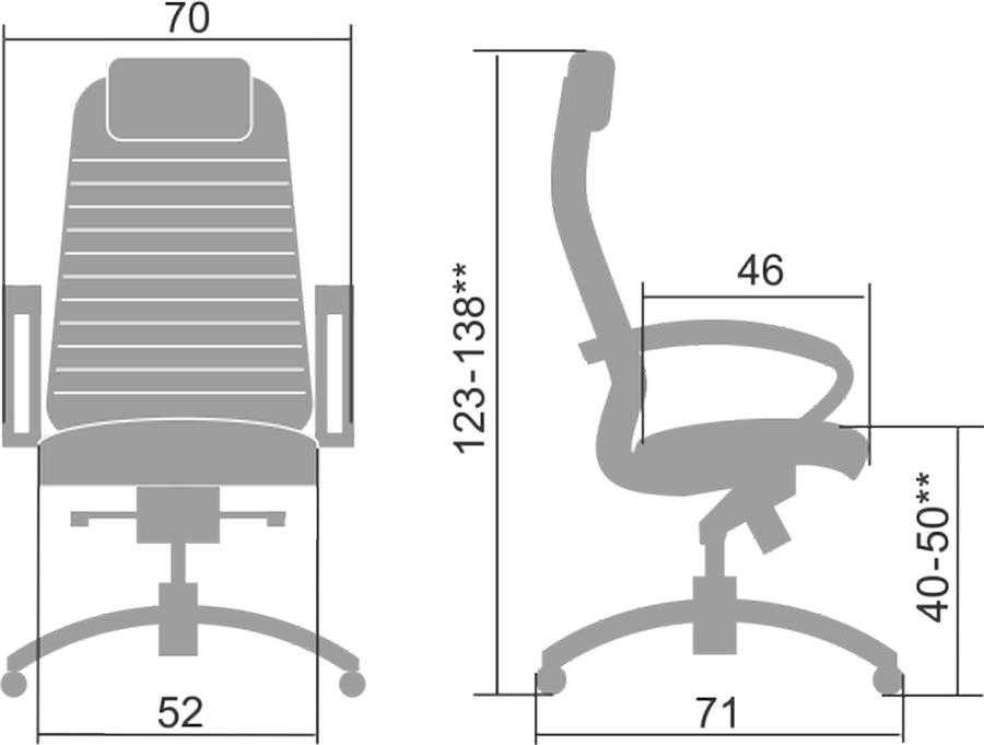 Размеры кресла Samurai K-1.041