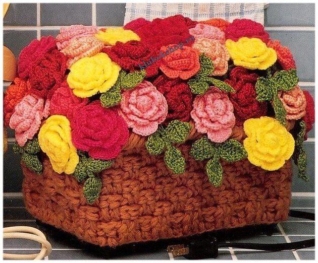 Вязание цветов - корзинка