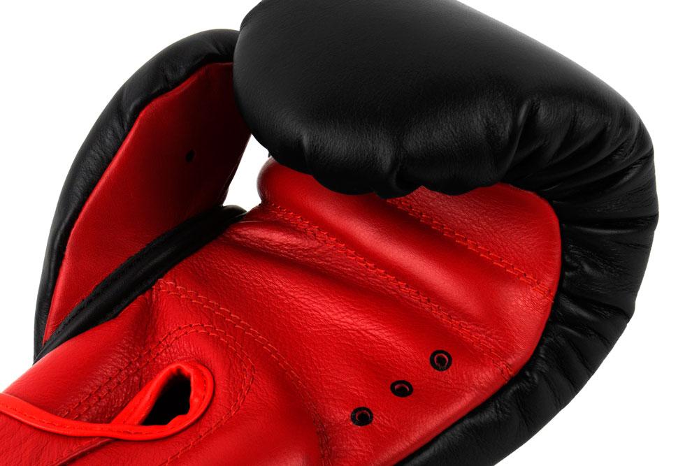 Вентиляция черно-красных боксёрских перчаток Dozen Dual Impact