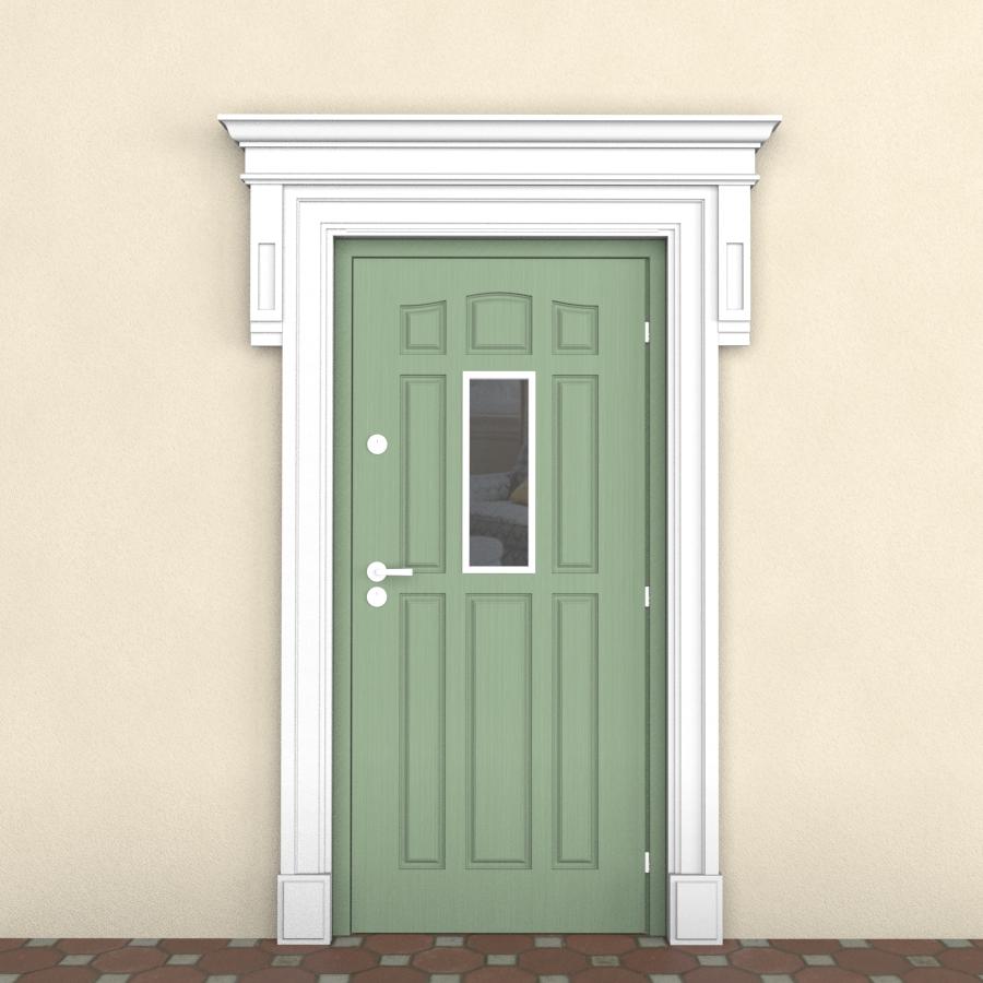 Наличник из пенопласта для входной двери всборе