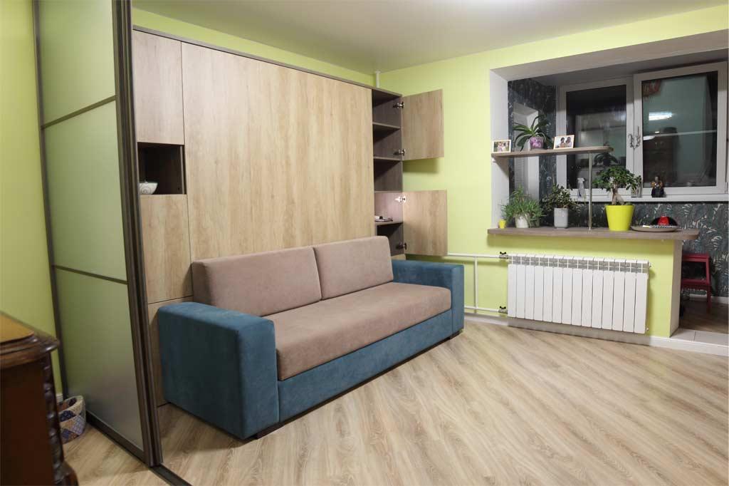 Шкаф-кровать Глория с диваном с широкими пеналами