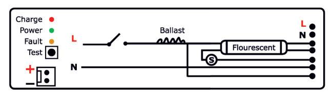 Схема подключения ПРА к блоку аварийного питания БАП 1.0 Pelastus