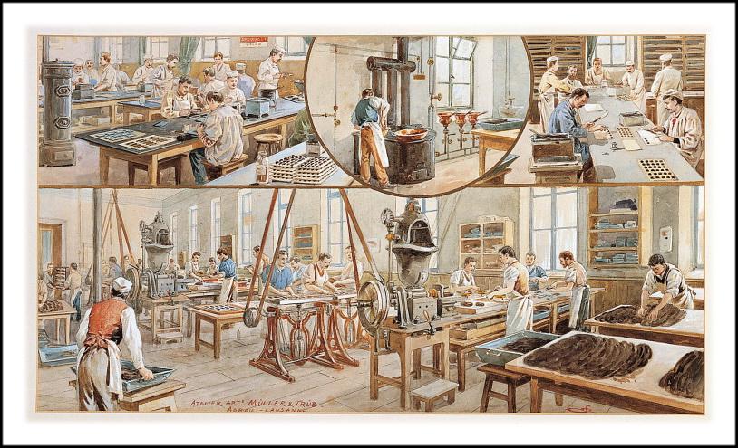 Фабричное шоколадное производство 19век.