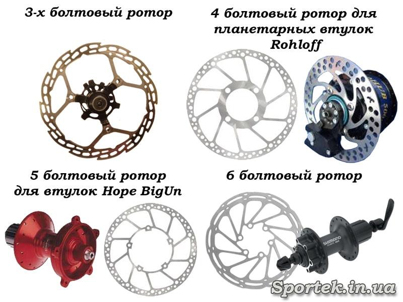 Типы крепления роторов дискового тормоза на болтах