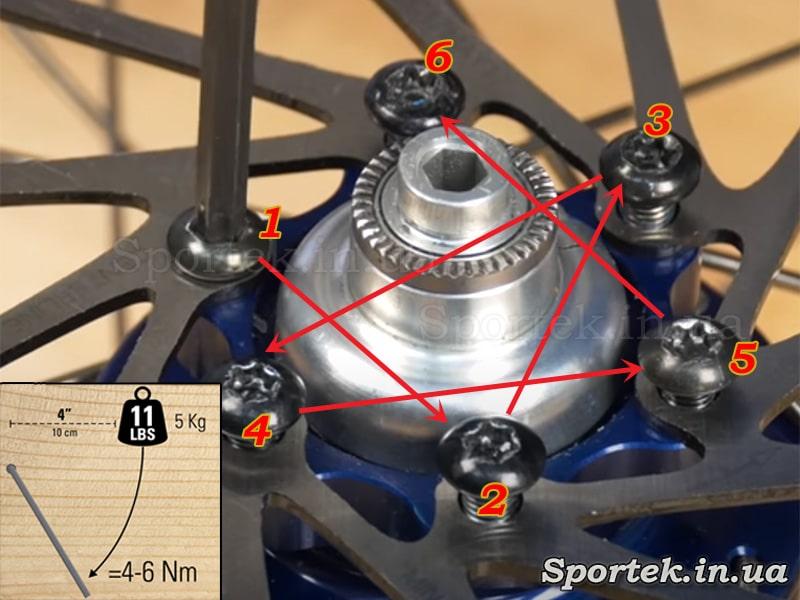 Как закручивать болты на роторе дискового тормоза