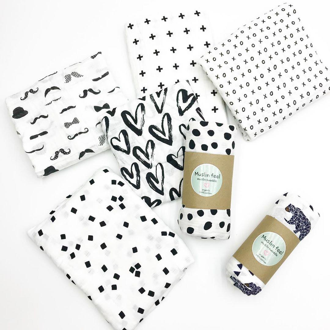 Пеленки для новорожденных в скандинавском стиле черно белые