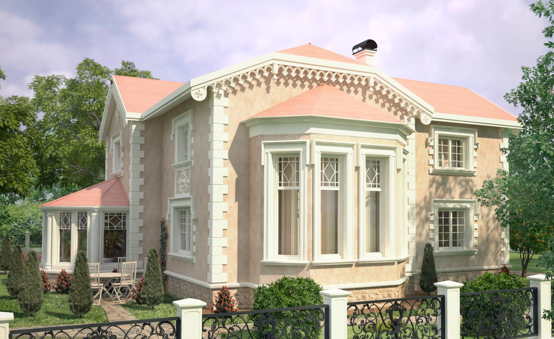 Красивый дом с лепным декором в английском стиле.