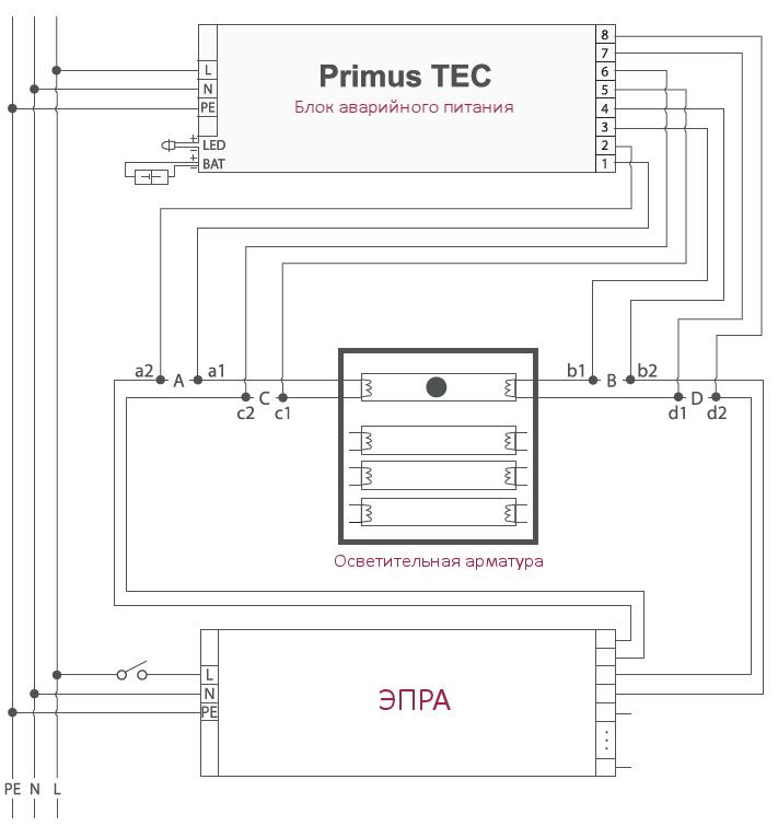Схема подключения блока аварийного питания Primus TEC 6-58W EVG для светильников с люминесцентными лампами