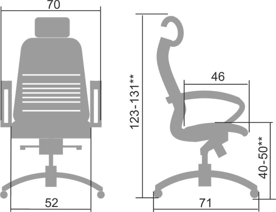Размеры кресла Samurai K-2.05