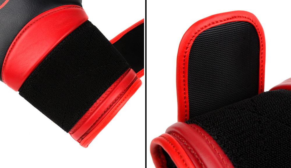 Фиксация черно-красных боксёрских перчаток Dozen Dual Impact