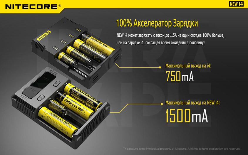100% Акселератор Зарядки Зарядного устройства Nitecore Intellicharger NEW i4